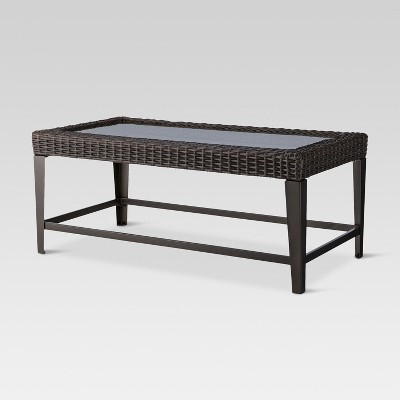 belvedere wicker patio coffee table brown threshold