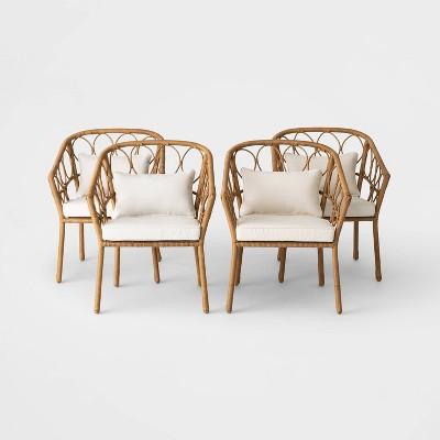 britanna 4pk wicker patio dining chair natural linen opalhouse