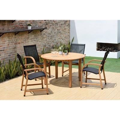 gables 5pc teak finish round patio dining set black amazonia