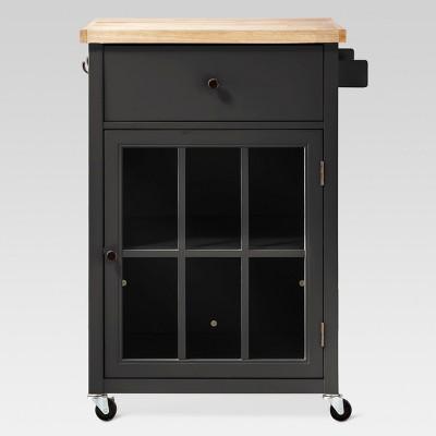 windham wood top kitchen cart black threshold