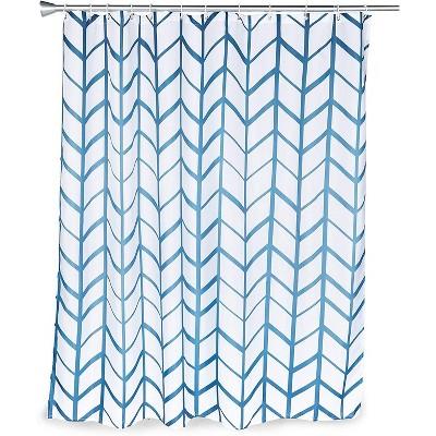 blue herringbone shower curtain set with 12 hooks 70 x 71 inches