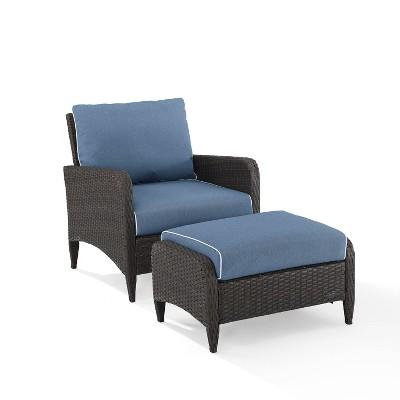 kiawah 2pc wicker patio chair with ottoman seating set blue crosley