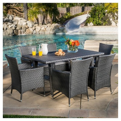 malta 7pc wicker patio dining set with cushions gray christopher knight home