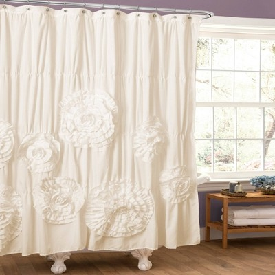 serena flower texture shower curtain off white lush decor