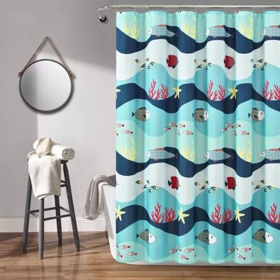 72 x72 sea life shower curtain blue lush decor