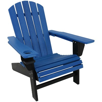 sunnydaze plastic all weather heavy duty outdoor adirondack patio chair with drink holder blue and black
