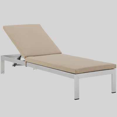 shore aluminum outdoor patio chaise lounge with cushions beige modway