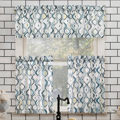 24 x54 barker geometric semi sheer rod pocket kitchen curtain valance and tiers set blue gray no 918