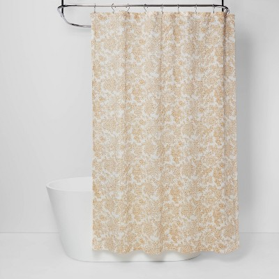 floral shower curtain yellow threshold