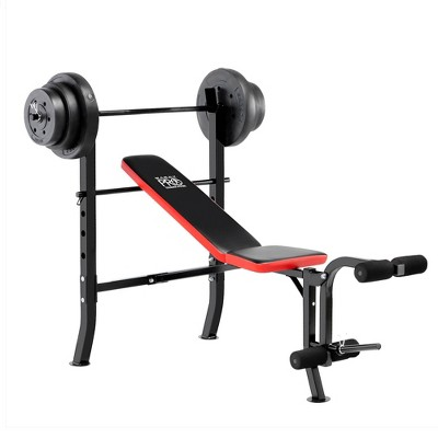 marcy pro standard bench with weight set 100lbs black