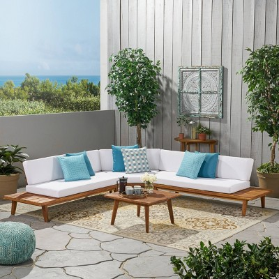 hillcrest 4pc acacia v shaped outdoor patio sectional sofa set natural white christopher knight home