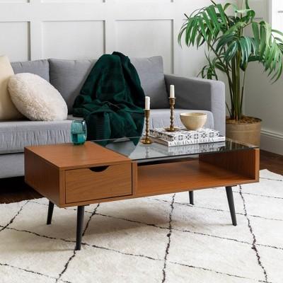 mid century modern wood and glass coffee table acron saracina home