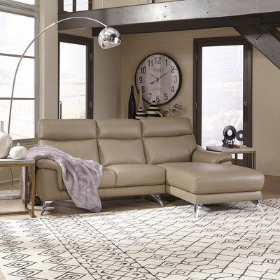 moderno leather contemporary upholstered chaise sofa beige home styles