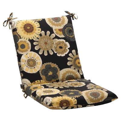 outdoor chair cushion black yellow floral