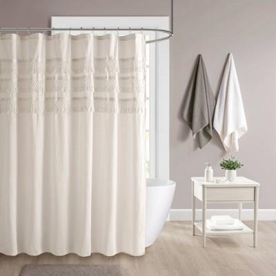 roselle cotton seersucker with tassel shower curtain ivory