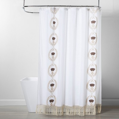 embroidered tassel pattern opaque shower curtain white opalhouse