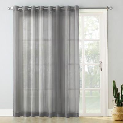 84 x100 emily extrawide sheer voile sliding door patio curtain panel dark gray no 918