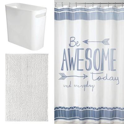 mdesign decorative bathroom decor set of 3 curtain rug can blue white