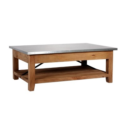 48 millwork coffee table with shelf wood and zinc metal silver light amber alaterre furniture