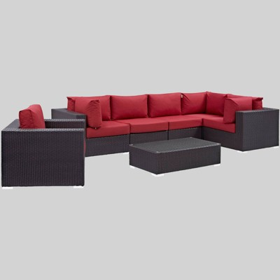 convene 7pc outdoor patio sectional set red modway