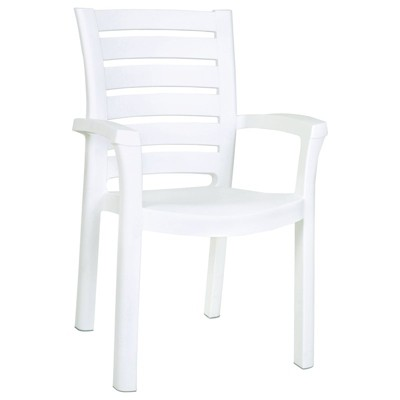 marina resin patio dining arm chair in white set of 4 compamia