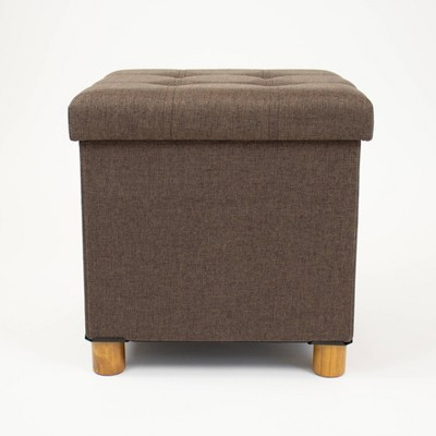 foldable storage ottoman with reversible tray cover taupe humble crew