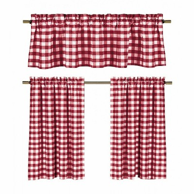 goodgram candy apple red white country checkered plaid kitchen tier curtain valance set 58 in w x 36 in l