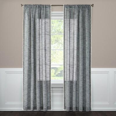 95 x54 pom striped window sheer black threshold