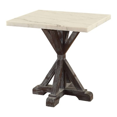 romina end table marble white espresso brown acme furniture