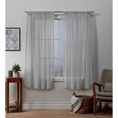 96 x54 itaji rod pocket sheer window curtain panels silver exclusive home