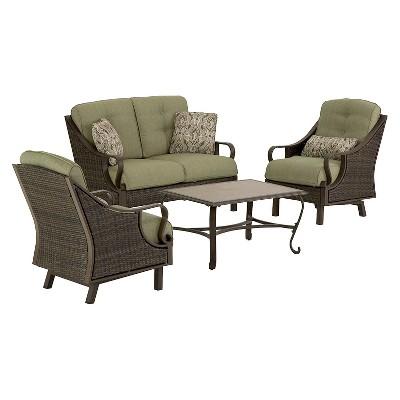 ventura 4 piece wicker patio conversation furniture set