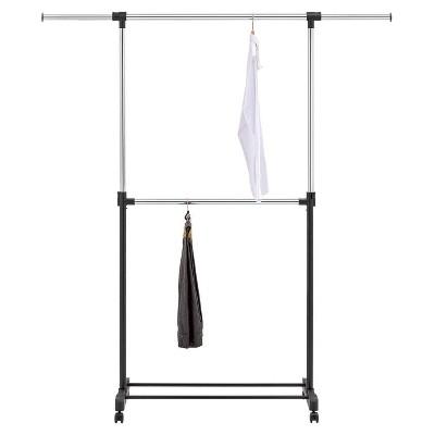 adjustable double rod garment rack black room essentials