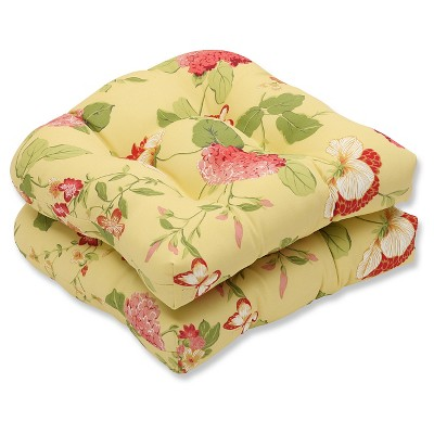 outdoor 2 piece wicker seat cushion set yellow red floral
