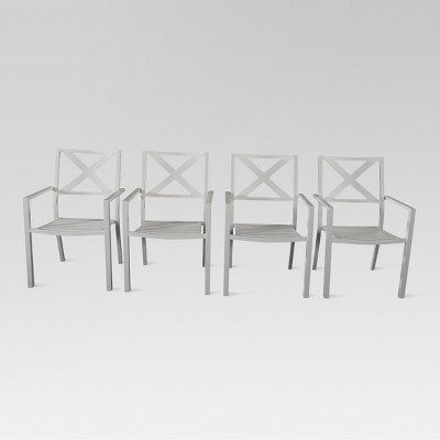 afton 4pk metal stack patio dining chair off white threshold