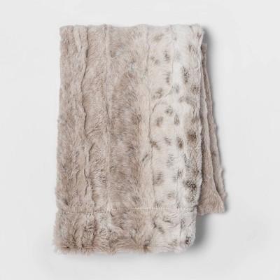 standard faux fur pillow case snow leopard threshold