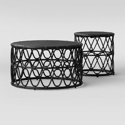 jewel round coffee and side table set black opalhouse