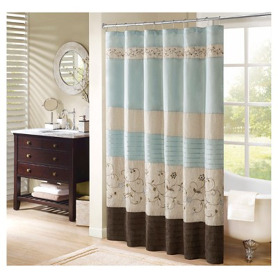 monroe embroidered floral shower curtain blue