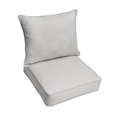 23 x25 x5 sunbrella outdoor deep seat pillow and cushion set gray