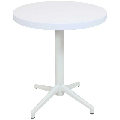 sunnydaze 31 h round plastic all weather commercial grade patio bar table with foldable design white