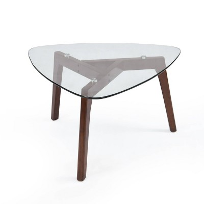wasco mid century modern coffee table with glass top walnut christopher knight home