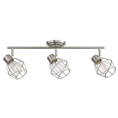 3 light jax track lighting includes energy efficient light bulb brushed nickel globe electric