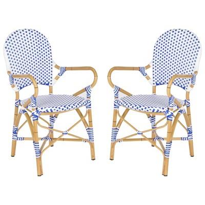 biarritz 2pc wicker patio arm chair blue white safavieh
