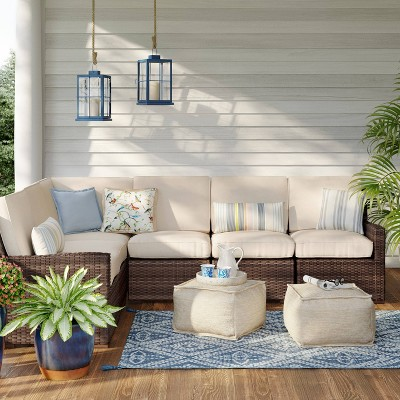 halsted 3pc corner patio sectional tan threshold