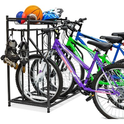 raxgo 3 bicycle floor parking stand free standing bike rack sports storage organizer for garage