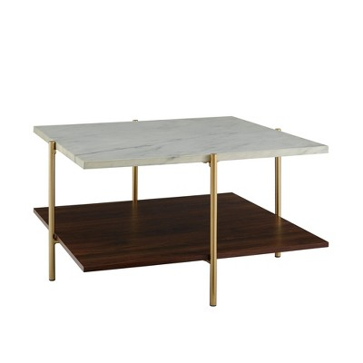mid century modern glam square coffee table faux white marble dark walnut gold saracina home