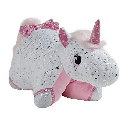 glittery white unicorn plush pillow pets