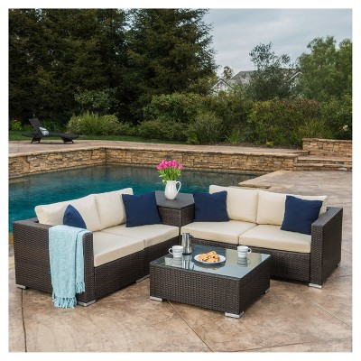 santa rosa 6pc all weather wicker patio sectional sofa set brown christopher knight home