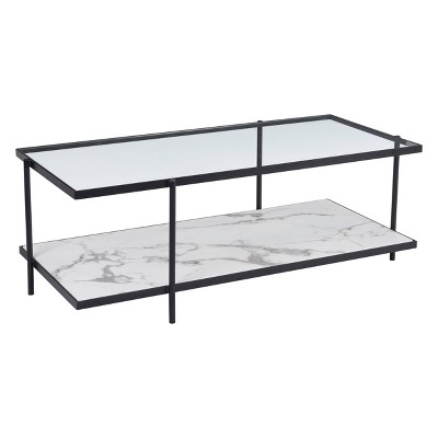 48 modern faux marble coffee table matte black zm home