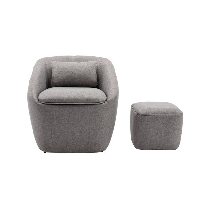 barrel chair with pillow storage seat and ottoman heather gray wovenbyrd