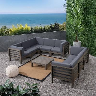 oana 9pc acacia wood sectional sofa set gray dark gray christopher knight home